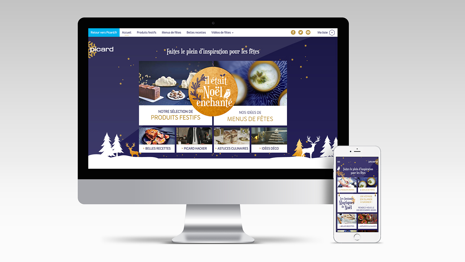 Webdesign du site Noël enchanté de Picard