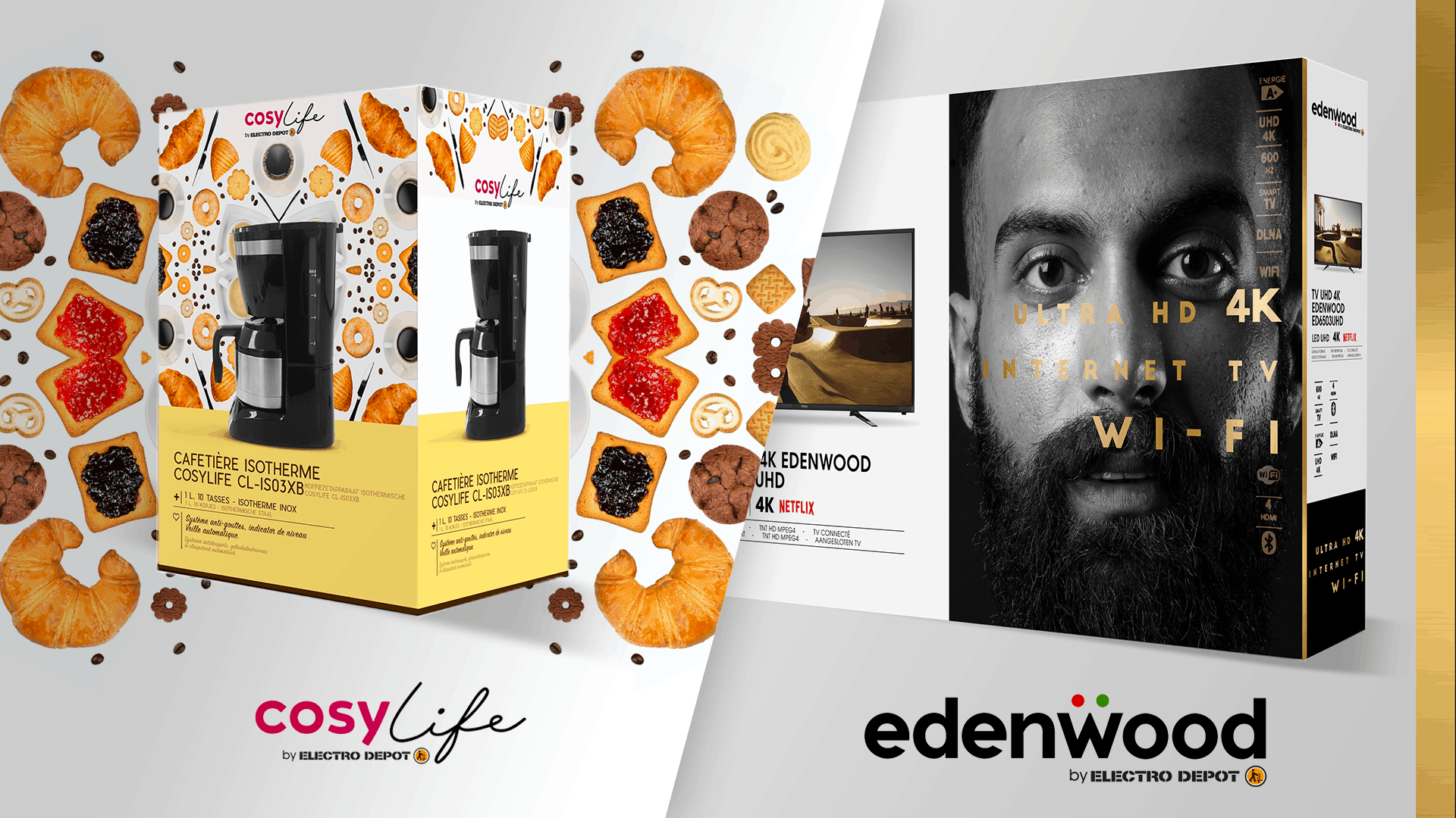 Packaging Cosy Life et Edenwood par Score DDB, agence retail